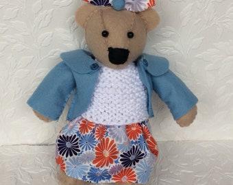 Miniature bear, felt bear, handsewn bear, teddy bear