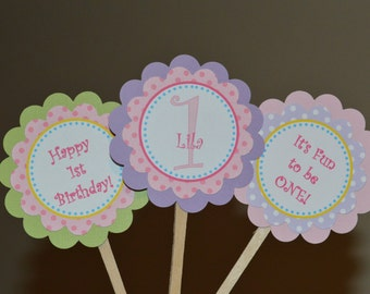 It's Fun To Be One Cupcake Toppers - I Am One - I am 1 Cupcake Toppers - Birthday Cupcake Toppers - Pastel Cupcake Toppers - Set of 12