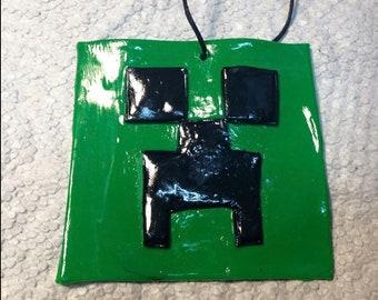 Minecraft clay ornament-Minecraft party favors -Minecraft gift tag-Minecraft stocking stuffer-Minecraft gift