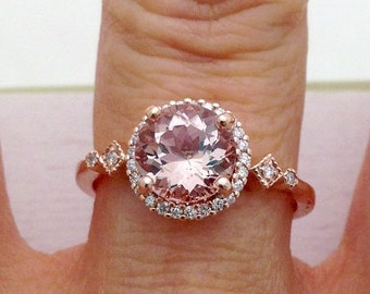 1.45 Carat Rose Gold Morganite Ring with Diamond Halo - 14K Pink Gold Art Deco Style Band