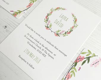 Floral wreath wedding invitation set, boho flowers, invite, RSVP card, flowers, spring