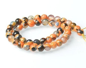 Strand 40+ Orange/Black Agate 8mm Faceted Round Beads CB52133