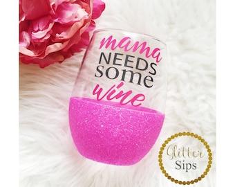 Mama Needs Some Wine Stemless Glitter Wine Glass // Stemless Wine Glass // Glitter Glass // Mother's Day Gift // Glitter Dipped // Mom Life