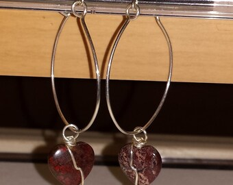 Hoop Earrings Sterling Silver Jasper Hearts