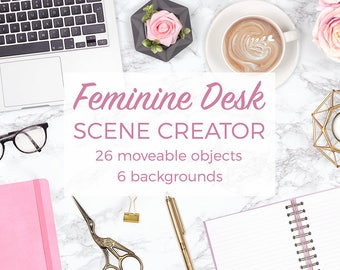 Feminine Desk Scene Creator, Desk Flat Lay Styled Stock Photography, Pink and Gold Mockups, Pretty Scene Creator With Movable Objects