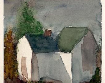 Cottage in Autumn - Original Watercolor Painting by Joy - Digital Download