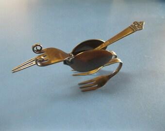 """Roadrunner """"BEEP-BEEP""""  handcrafted utensil metal welded sculpture"""
