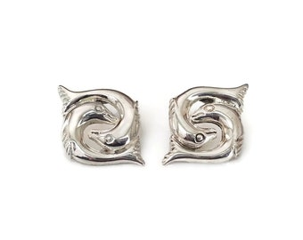 Sterling Silver Pisces Symbol Earrings - Mexican Sterling, Taxco Mexico, TM 50 925, Koi Fish, Intertwined Fish, Vintage Earrings