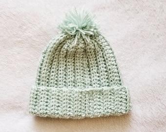 Crochet ribbed beanie with pompom