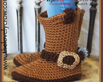 Crochet Pattern Cowboy Boots CHILDREN'S Sizes