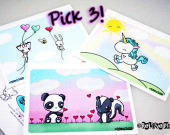 Pack of 3 Cards - You Choose - Love valentines birthday anniversary congratulations anything - ReLove Plan.et Art Print