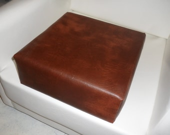 Booster Seat Cushion Upholstered In A Premium Chestnut Faux Leather
