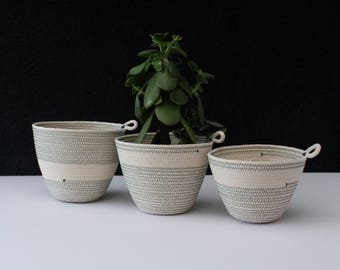 Trio of rope bowls - cactus green // rope bowls / rope basket / rope vessel / succulent pot / jungalow style / urban jungle / planter