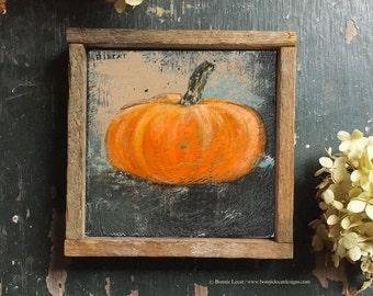 Halloween Wall Decor, Pumpkin Print, Folk Art Style Pumpkin Print, Pumpkin Art for Halloween, Square Art Print, Orange and Black Wall Decor