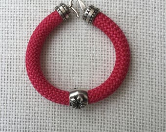 Handmade fushia pink climbing cord bracelet
