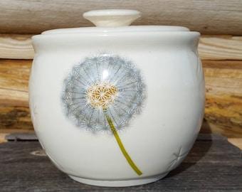 Dandelion Honey Pot, Pottery Honey Jar, Ceramic Honey Pot, Fresh Honey, Honey Keeper, Dandelion Puff, Honey, Kitchen Canister, Flower