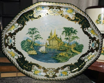 Mid-century (c. late 1950s) Daher New York large, octagonal metal serving tray. Chinoiserie/Oriental theme palace, trees, boat and stream