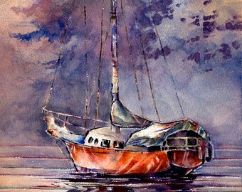 Morning at Jarrell's Cove - Sailboat Watercolor Art Print by Michael David Sorensen. Sailing Watercolor Boats Trees Purple Red-Orange. Water