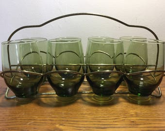 8 Green Libbey Tempo 12 Ounce Roly Poly Glasses in Caddy