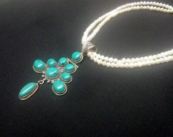 Sterling Silver India 925, Fresh Water Pearls necklace with Turquoise pendant Choker
