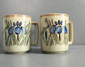 Vintage Mug Set. 1970's Handmade Mugs. Unique Mugs. Coffee Mugs. Green, Blue and Tan Mug. Set of Retro Mugs.