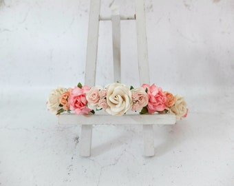 Wedding flower crown - ivory coral and peach flower headpiece - hair accessories - floral hair wreath - halo - garland