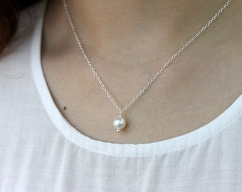 Freshwater Pearl Necklace, June Birthstone, Gold Filled Chain, Sterling Silver Jewelry, White Pearl