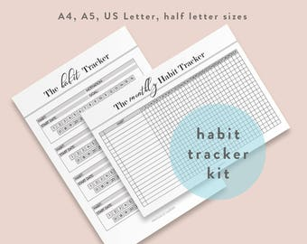 Habit Tracker Printable, Monthly habits, 30 Day Habit Challenge, Goal Planner Setting, A5, Half Size, Letter A4, Instant Download