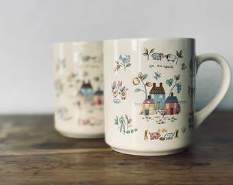 Retro Coffee Mugs, Set of 2, Country Scene Mugs, Coffee Mugs, Vintage Coffee Mug, Vintage Kitchen, Vintage Coffee Break, Retro, Retro Coffee