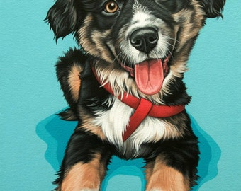 Custom Pet Portrait, 11x17 Mixed Breed Dog Painting, Hand Painted Portrait of Your Puppy, Custom Painting from Your Photos, Mutt Portrait