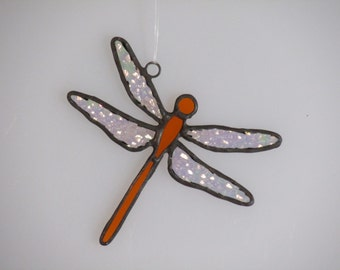 Orange Stained Glass Dragonfly Suncatcher (small)