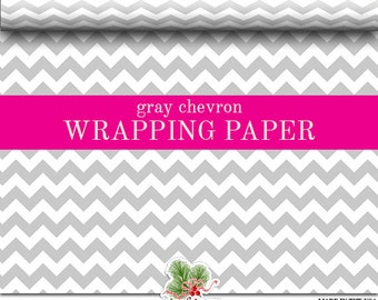 Gray Chevron Custom Premium Wrapping Paper | Grey Zig Zag Gift Wrap In Two Sizes Great For Any Occasion. Made In The USA