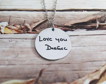 Silver Signature Necklace,Signature Necklace,Handwritting Necklace,Engraved Circle Necklace,Custom Handwritting Jewelry
