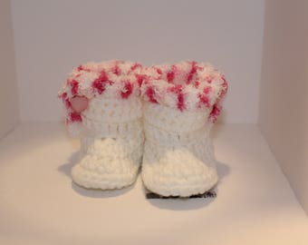 Baby Boots, White with pink furry trim