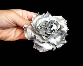 Silver Rose Hair Clip Wedding Bridal Rose Hair band accessories handmade Flower Hair Clip Rose Floral Hair Clip Baby girl hairpin hairpiece