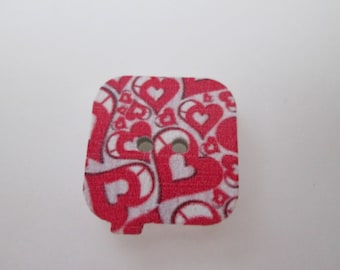 x 5 square wood 17 x 17 mm heart pattern buttons