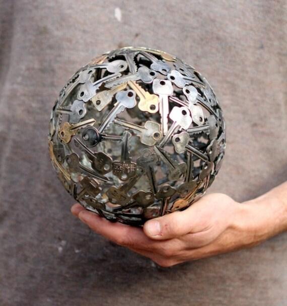 Medium 18 Cm Key Ball Key Sphere Metal Sculpture Ornament
