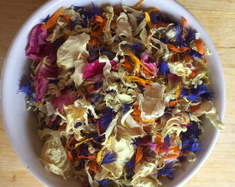 1 litre natural dried flower petal confetti, biodegradable, natural petals