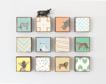 safari nursery wall art, jungle decor, twelve set of 5x5 art blocks- kids room decor- safari decor, nursery geometric decor- redtilestudio