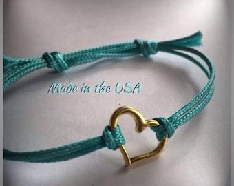 Dainty gold heart bracelet, slide bracelet, charm bracelet, best friends bracelet, love bracelet, dainty bracelet, Simple bracelet