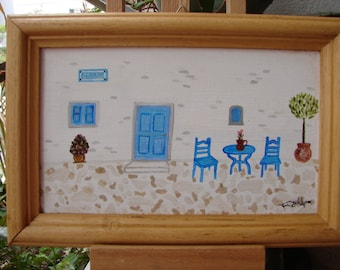 vintage handpainted,Greek island house, watercolor, acrylic on wood in natural frame