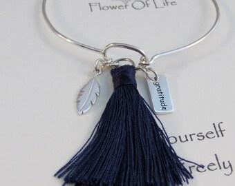 Flower Of Life,Feather Bracelet,Sterling Flower,Mandala,Feather,Indian Feather,Tassel,Tassel Jewelry,Tassel Bracelet,Blue Tassel,Personalize