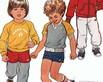 Vintage 80s Boys Pants Shorts Sweatshirt Jacket Sewing Pattern by Hang Ten Simplicity 5591 Boys Sewing Pattern Size 6-6X UNCUT