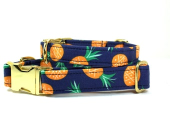 Blue Pineapple Dog Collar - Tropical Dog Collar - Pineapple Dog Collar - Blue Dog Collar  - Girl Dog Collar - Boy Dog Collar