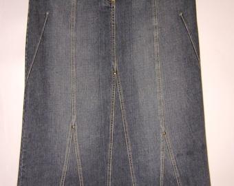 Vintage 80s/90s  Womens Skirt/Blue Denim Skirt/ Maxi Skirt/Principles Skirt/ Zipper/ A Line Skirt/Size Large EU 42 UK 14