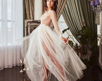 Lace Boudoir Dress Wedding Lingerie Honeymoon Beach Cottage Chic lace Bridal Lingerie F-209