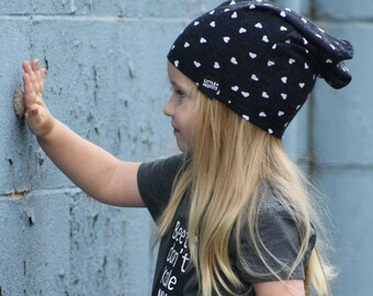 Slouchy Beanie Hat for Girls, Black Slouchy Baby Beanie, Toddler or Kids Slouchy Beanie, Lightweight Comfy Kids Slouch Beanie, Baby Toque