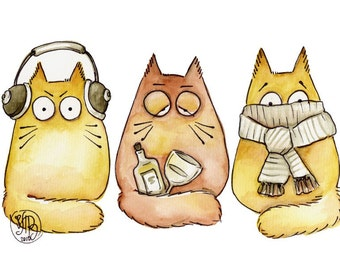 CAT-A-STROPHE - three wise cats - Limited Edition print 7 x 9 inch - Cats with attitude - PookieCat