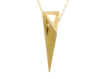 Pyramid Necklace, 3D Necklace, Womens 14K Gold, 18K Solid Gold Necklace, 14K Solid Gold Necklace, Gold Triangle Necklace, Edgy Necklace