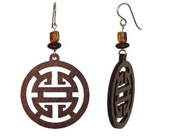 Large Wood Earrings - Dark Wood Earrings - Walnut Wood Earrings - Laser-Cut Wood Earrings - Oriental Design Earrings